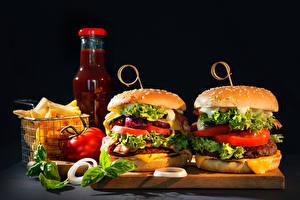Fotos Fast food Hamburger Gemüse Flaschen Lebensmittel