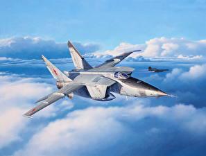 Hintergrundbilder Flugzeuge Jagdflugzeug Gezeichnet Russischer MiG-25RBT Luftfahrt