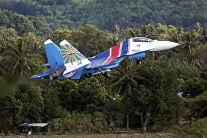 Fotos Flugzeuge Jagdflugzeug Starten Russischer Sukhoi Su-30SM Luftfahrt