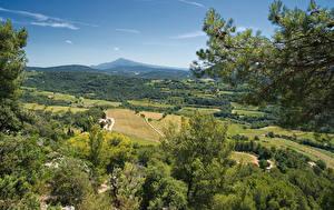 Fotos Frankreich Landschaftsfotografie Felder Wälder Hügel Vaucluse Natur
