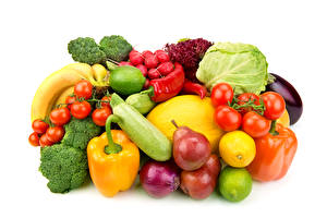 Pictures Fruit Vegetables Pepper Tomatoes Radishes Pears Onion Cabbage White background