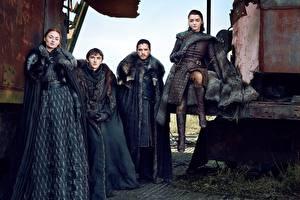 Fotos Game of Thrones Mann Kit Harington season 7, Jon Snow, Arya Stark, Bran Stark, Sansa Stark Mädchens Prominente