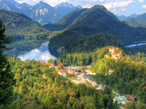 Wallpapers Germany Houses Lake Mountain Castle Forests Bavaria Hohenschwangau Cities