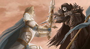 Picture Illustrations to books Warriors Two Swords Fight Ursula K. Le Guin, Darkness Box Fantasy