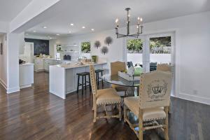 Wallpaper Interior Design Kitchen Table Chairs Chandelier Ceiling