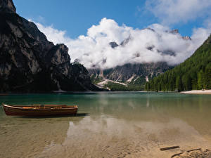 Wallpapers Italy Lake Boats Mountains Clouds Lake Braies Nature