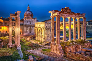 Hintergrundbilder Italien Rom Ruinen Abend Säule Roman Forum, Septimius Severus Arch, Saturn Temple
