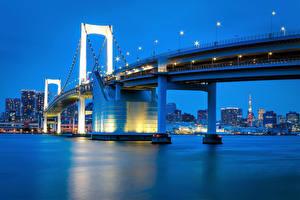 壁纸、、日本、東京都、川、橋、夕、湾、都市