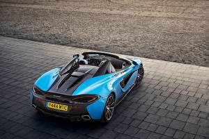 Photo McLaren Light Blue Metallic Back view Cabriolet 2017 570S Spider Worldwide auto
