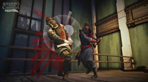 Fotos Mann Assassin's Creed Chronicles Schlägerei Zwei Gasmaske Russia Spiele