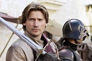 Pictures Men Game of Thrones Swords Beautiful Nikolaj Coster-Waldau Movies