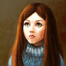 Hintergrundbilder Gezeichnet Braune Haare Haar Mädchens