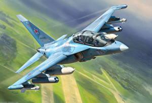 Bilder Gezeichnet Flugzeuge Jagdflugzeug Russische Yak-130