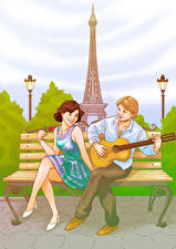 Image Painting Art France Man Paris Eiffel Tower Guitar Two Girls