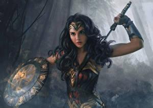 Image Painting Art Wonder Woman hero Wonder Woman (2017 film) Warriors Gal Gadot Shield Beautiful Brunette girl Movies Girls