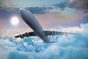 Bilder Flugzeuge Verkehrsflugzeug Himmel Wolke Flug Luftfahrt