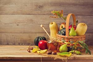 Wallpaper Pumpkin Apples Pears Honey Wood planks Wicker basket Jar