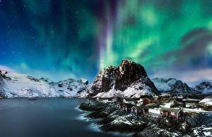 Hintergrundbilder Landschaftsfotografie Gebirge Küste Lofoten Norwegen Aurora borealis