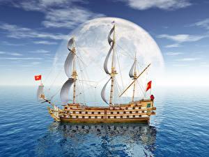 Hintergrundbilder Meer Schiffe Segeln Mond