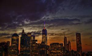 Hintergrundbilder Wolkenkratzer Gebäude Himmel Vereinigte Staaten Nacht Manhattan 1WTC, OWTC Städte