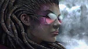 Wallpaper StarCraft Locs Sarah Kerrigan Face Eyeglasses vdeo game Fantasy