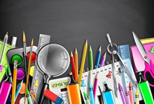 Fotos Schreibwaren Bleistift Notizblock Vergrößerungsglas