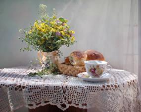 Wallpaper Still-life Bouquet Buns Vase Cup Table Food