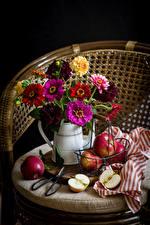 Hintergrundbilder Stillleben Zinnien Äpfel