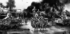 Bilder Panzer Soldaten Gezeichnet Schwarzweiss Japanisch Heer