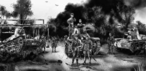 Photo Tank Soldier Painting Art Black and white Japanese