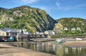 Image United Kingdom Houses Rivers Bridge Hill Rock Wales Barmouth North Cities