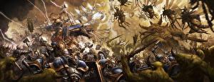Photo Warhammer 40000 Warrior Fighting Stormcast Vs Nurgle Games Fantasy