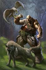 Hintergrundbilder Krieger Hund Habicht Mann Fantasy