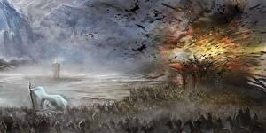 Bureaubladachtergronden Krijger Explosie Fantasy
