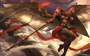 Pictures Warriors Heroes of Newerth Spear Wings Armor Redhead girl Valkyrie, Adkarna Valkyrie Fantasy Girls