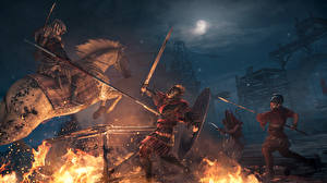 Wallpaper Warrior Horse Fighting Flame Assassin's Creed Origins Night time Spear Swords Games 3D_Graphics
