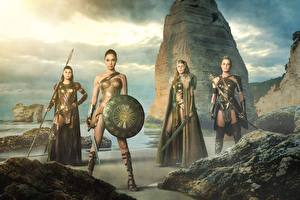 Image Wonder Woman hero Wonder Woman (2017 film) Gal Gadot Warriors Shield Swords Movies Girls Celebrities