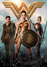 Wallpaper Wonder Woman hero Wonder Woman (2017 film) Gal Gadot Chris Pine Warrior Shield Swords Three 3 film Girls Celebrities