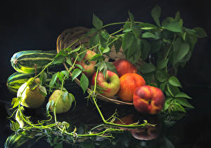 Hintergrundbilder Äpfel Pfirsiche Birnen Ast Lebensmittel