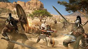 Image Assassin's Creed Origins Battles Warriors Swords Shield vdeo game 3D_Graphics