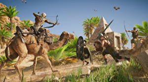 Hintergrundbilder Assassin's Creed Origins Krieger Kamele Bogenschütze computerspiel 3D-Grafik