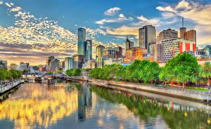 Fondos de escritorio Australia Melbourne Edificio Río Cielo Calle Ciudades