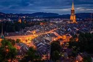 Pictures Bern Switzerland Building Roof Night Street lights Cities