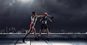 Wallpaper Boxing Two Uniform To beat Fight sports Girls