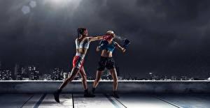 Bakgrunnsbilder Boksing To 2 Uniform Slår Slagsmål atletisk Unge_kvinner