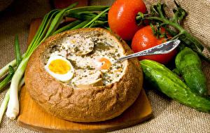 Fotos Brot Tomate Gurke Ei Schneidebrett