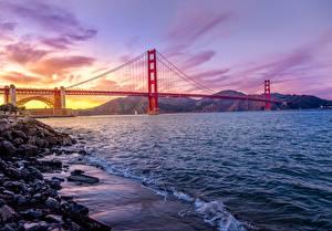 Hintergrundbilder Brücken Küste Abend Vereinigte Staaten San Francisco Golden Gate Bridge Natur