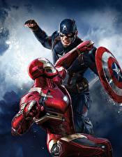 Pictures Captain America: Civil War Captain America hero Iron Man hero Superheroes Fight Shield 2 film