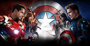 Desktop wallpapers Captain America: Civil War Captain America hero Iron Man hero Scarlett Johansson Movies Celebrities