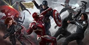 Fotos The First Avenger: Civil War Iron Man Held Comic-Helden Captain America Held Schlägerei Steve Rogers Film Prominente Mädchens